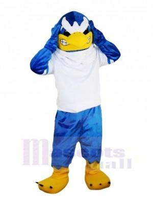 Bleu Faucon avec blanc T-shirt Mascotte Les costumes Animal