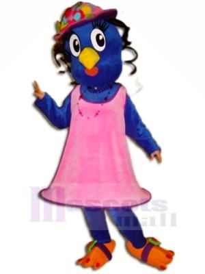 Bleu Oiseau avec Rose Robe Mascotte Les costumes Animal
