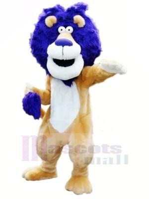 Lion avec Bleu Cheveux Mascotte Les costumes Animal