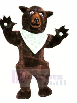 marron Ours avec blanc Soie Écharpes Mascotte Les costumes Animal
