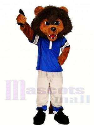 Lion sportif en chemise bleue Costume de mascotte