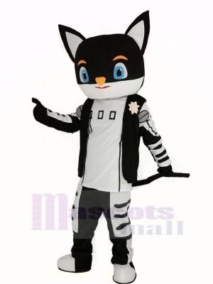 Monsieur Noir Chat dans Noir Manteau Mascotte Costume Dessin animé