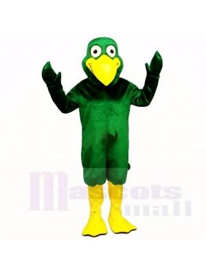 Souriant vert Oiseau Mascotte Les costumes Dessin animé