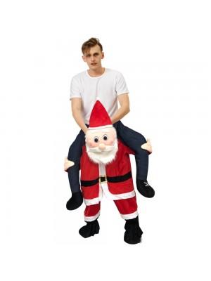 Rougir Père Noël Claus Porter moi Balade sur Halloween Noël Costume pour Adulte/enfant