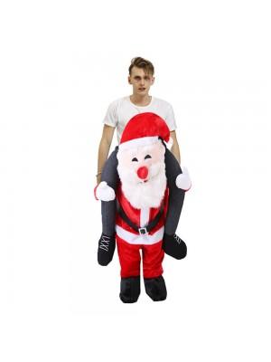 Souriant Père Noël Claus Porter moi Balade sur Halloween Noël Costume pour Adulte/enfant