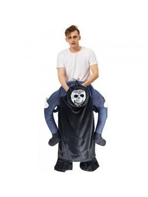 Noir Fantôme Squelette Porter moi Balade sur Halloween Noël Costume pour Adulte