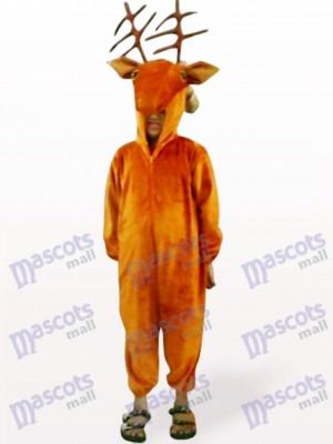 Costume de mascotte d'animal de visage de cerfs ouverts de café
