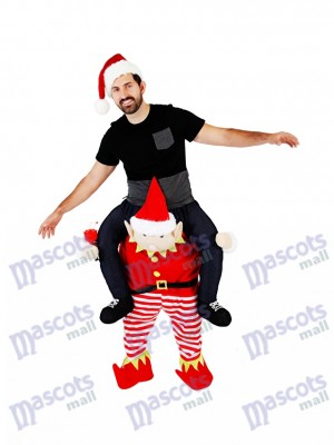 Piggyback Elf Carry Me Ride sur Costume de mascotte Elfe rouge