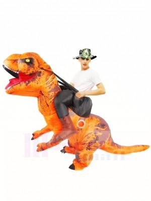 Tyrannosaurus orange T-Rex Gonflable Porte moi Ride On Costume
