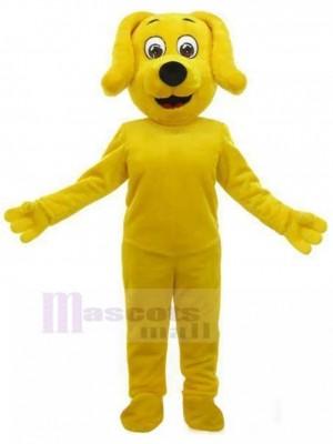 Costume de mascotte de chien jaune souriant avec animal oreilles tombantes