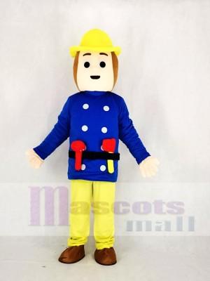 Réaliste Pompier Dans Bleu Mascotte Costume Dessin animé