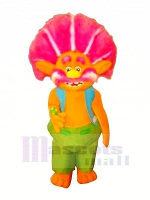 Orange Trolls avec Bleu Gilet Mascotte Les costumes Dessin animé