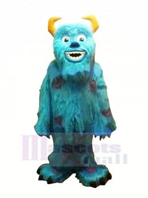 Souriant Bleu Monstre Mascotte Les costumes Dessin animé