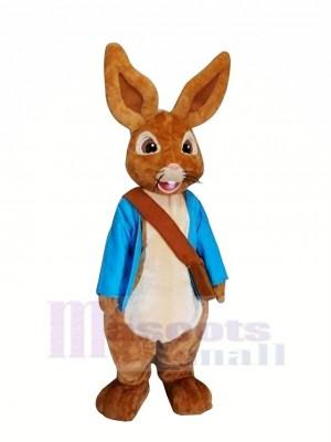 Peter lapin avec Bleu vêtements Mascotte Les costumes Dessin animé