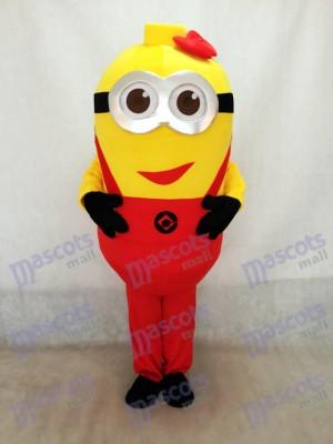 Moi, moche et méchant Despicable Me Costume de mascotte de Minions avec des bretelles rouges et Bowknot