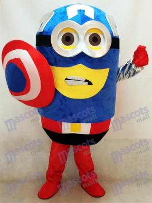Moi, moche et méchant Despicable Me Minions Costume de mascotte de Captain America avec cape et bouclier