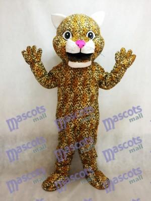 Costume de mascotte animal Léopard jaune bondissant avec un nez rose