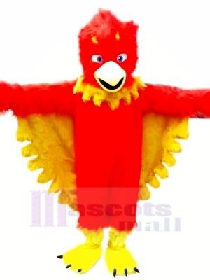 rouge Phénix avec Longue Fourrure Mascotte Les costumes Dessin animé