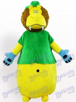 Déguisement de lion jaune en vêtements vert mascotte animaux