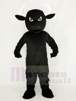 Féroce Noir Taureau Mascotte Costume Dessin animé