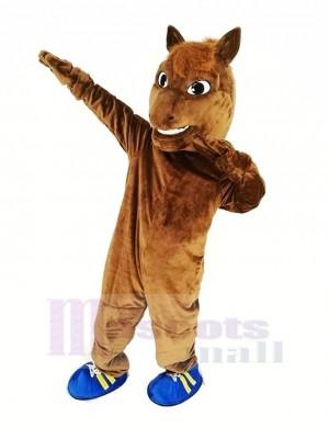 marron Cheval Course Mascotte Costume