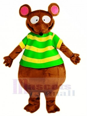 marron Souris dans vert Mascotte Costume Animal