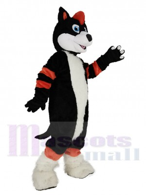 Orange et Noir Chien husky Fursuit Mascotte Costume Animal