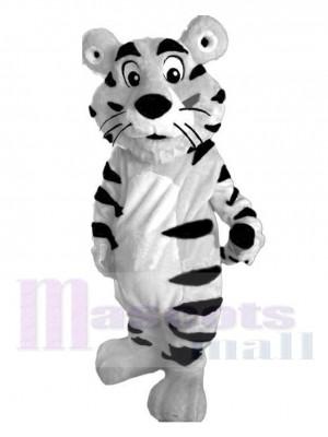 Mignon blanc tigre avec Noir Rayures Mascotte Costume