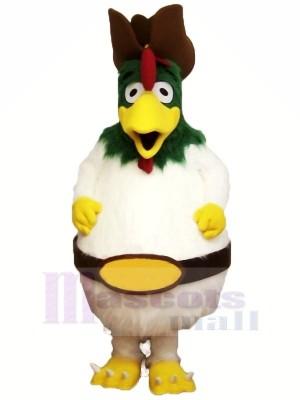 blanc Velu Coq Mascotte Les costumes Dessin animé