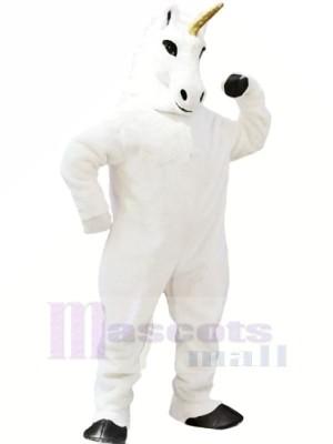 blanc Licorne Mascotte Costume Dessin animé