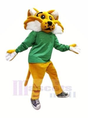 marron Chat sauvage dans vert Mascotte Les costumes Dessin animé