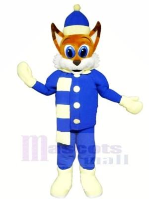 marron Renard avec Bleu Costume Mascotte Les costumes Dessin animé