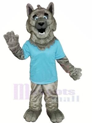 Gris Loup avec Bleu T-shirt Mascotte Déguisements Dessin animé