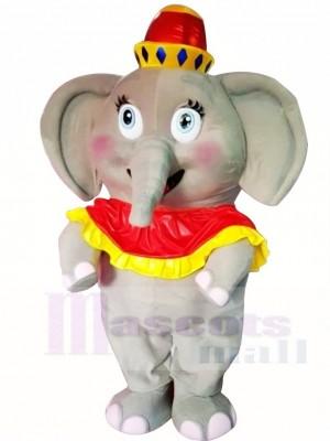 Gros l'éléphant Avec rouge Chapeau Mascotte Déguisements Dessin animé