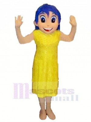 Content Fille dans Jaune Robe Mascotte Costume Dessin animé