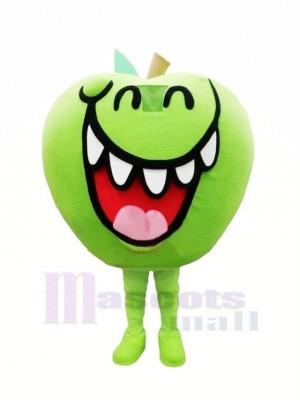 Marrant vert Pomme Fruit Mascotte Costume Dessin animé