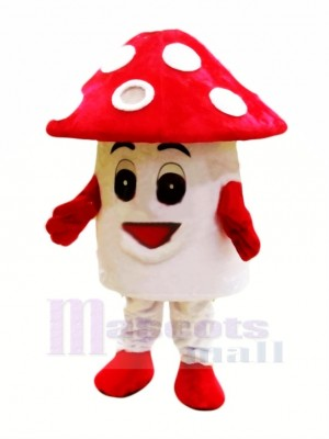 rouge Champignon Mascotte Costume Dessin animé