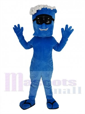 Bleu Vague avec Noir Lunettes Mascotte Costume