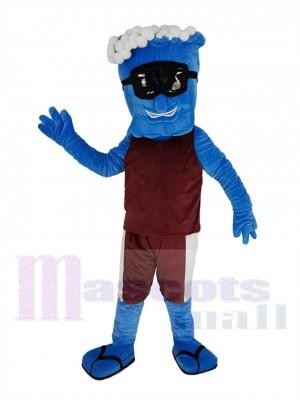 Bleu Vague dans Bordeaux gilet Mascotte Costume