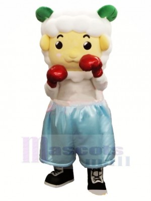 Mignonne Boxeur Mouton Mascotte Costume Dessin animé