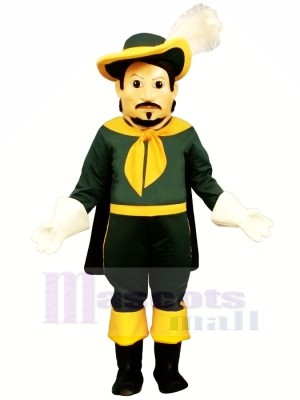 Cool Calvin Cavalier dans vert Mascotte Costume Gens