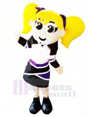 Pom-pom girl avec Jaune Cheveux Mascotte Costume Gens