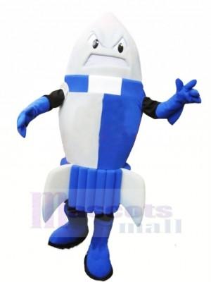 Féroce Bleu Fusée Mascotte Costume Dessin animé