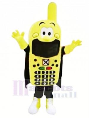 Drôle Jaune Téléphone Mascotte Costume Dessin animé