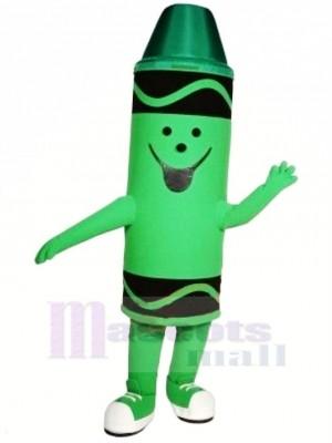 Mignonne vert Crayon Mascotte Costume Dessin animé