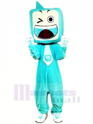 Drôle Bleu la télé Ensemble Mascotte Costume Dessin animé