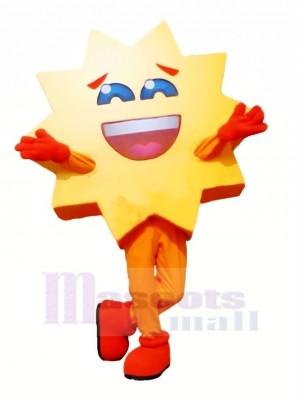 Souriant Chaud Soleil Mascotte Costume Dessin animé