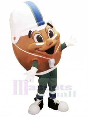 marron américain Football Mascotte Costume Dessin animé