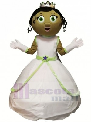 Princesse avec vert Yeux Mascotte Costume Dessin animé