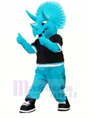 Bleu Triceratops Dinosaure Mascotte Costume Dessin animé